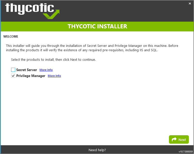 Installation Welcome dialog